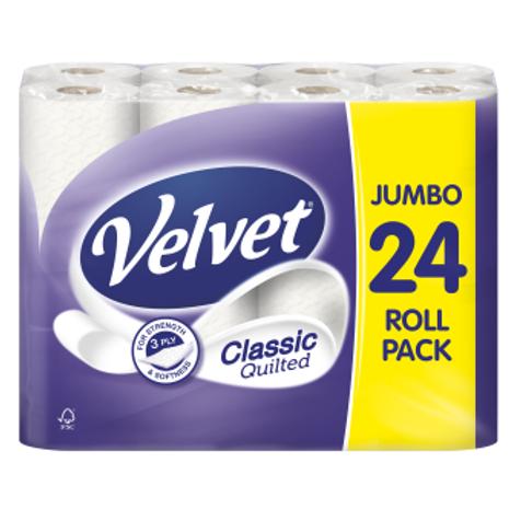 24 Velvet 3ply Quilted Classic Soft White Toilet Roll + Free 50ml Hand Sanitiser