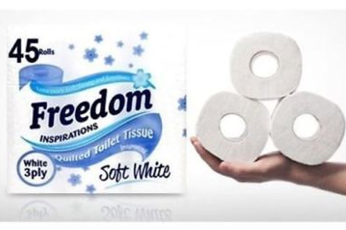 45 FREEDOM INSPIRATIONS WHITE SOFT 3PLY TOILET ROLLS