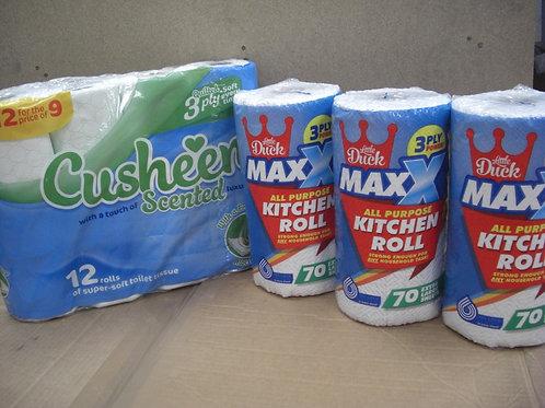 60 Cusheen Aloe Vera, Cherry or White +12 Extra-Large Rolls MAXX Kitchen Towels