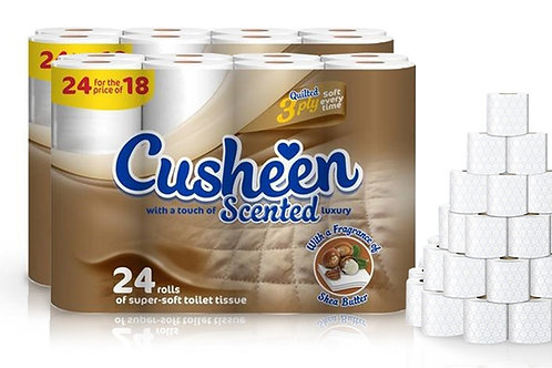 96 CUSHEEN SHEA BUTTER SCENTED 3PLY TOILET ROLLS