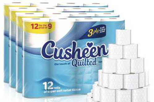 120 x Cusheen 3ply White Quilted Toilet roll ++ (FREE MYSTERY HOUSEHOLD GIFT)