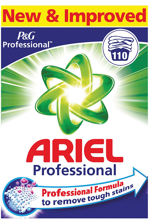 ARIEL PROFESSIONAL 110w WASHING POWDER WITH PROFESSIONAL FORMULA TO REMOVE TOUGH