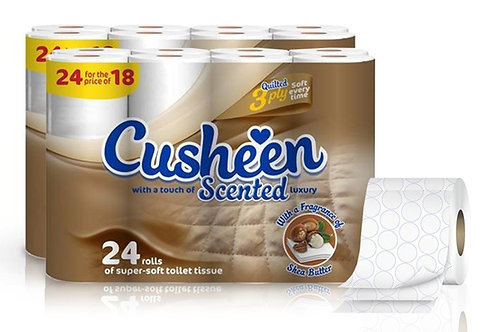 72 CUSHEEN SHEA BUTTER SCENTED 3PLY TOILET ROLLS