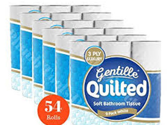 54 GENTILLE QUILTED 3PLY TOILET ROLLS