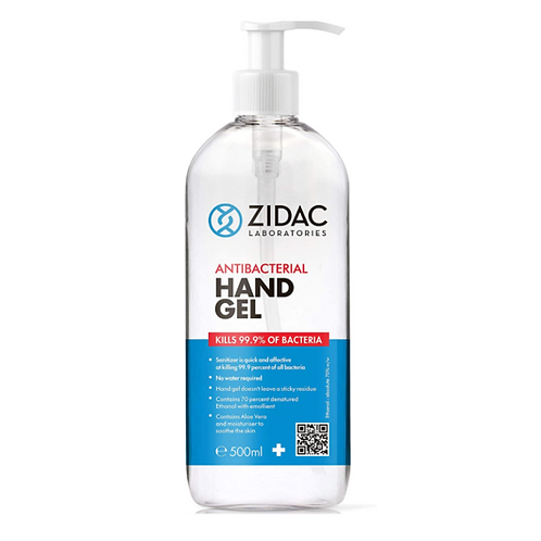 1 x 500ml Zidac Anti Bacterial Hand Gel 70% with PUMP