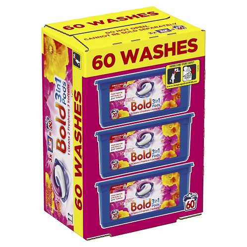 BOLD 3 IN 1 LAUNDRY PODS LAVENDER / BLOOM & YELLOW POPPY - 60 PACK