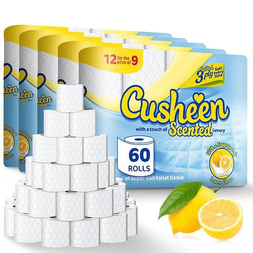 120 LEMON CUSHEEN 3Ply Toilet Rolls