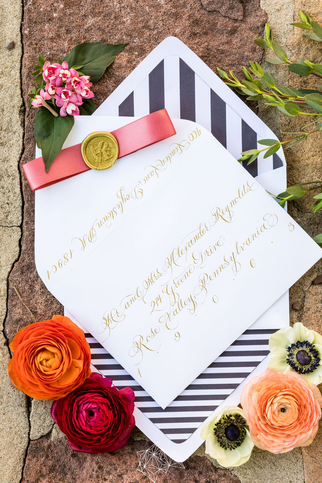 Calligraphed Envelope in Gold