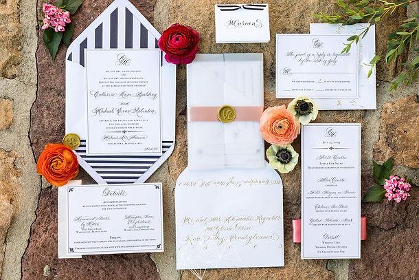 Philadelphia calligraphy wedding invitation