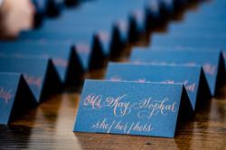 Blue Escort Card Calligraphy in Copper