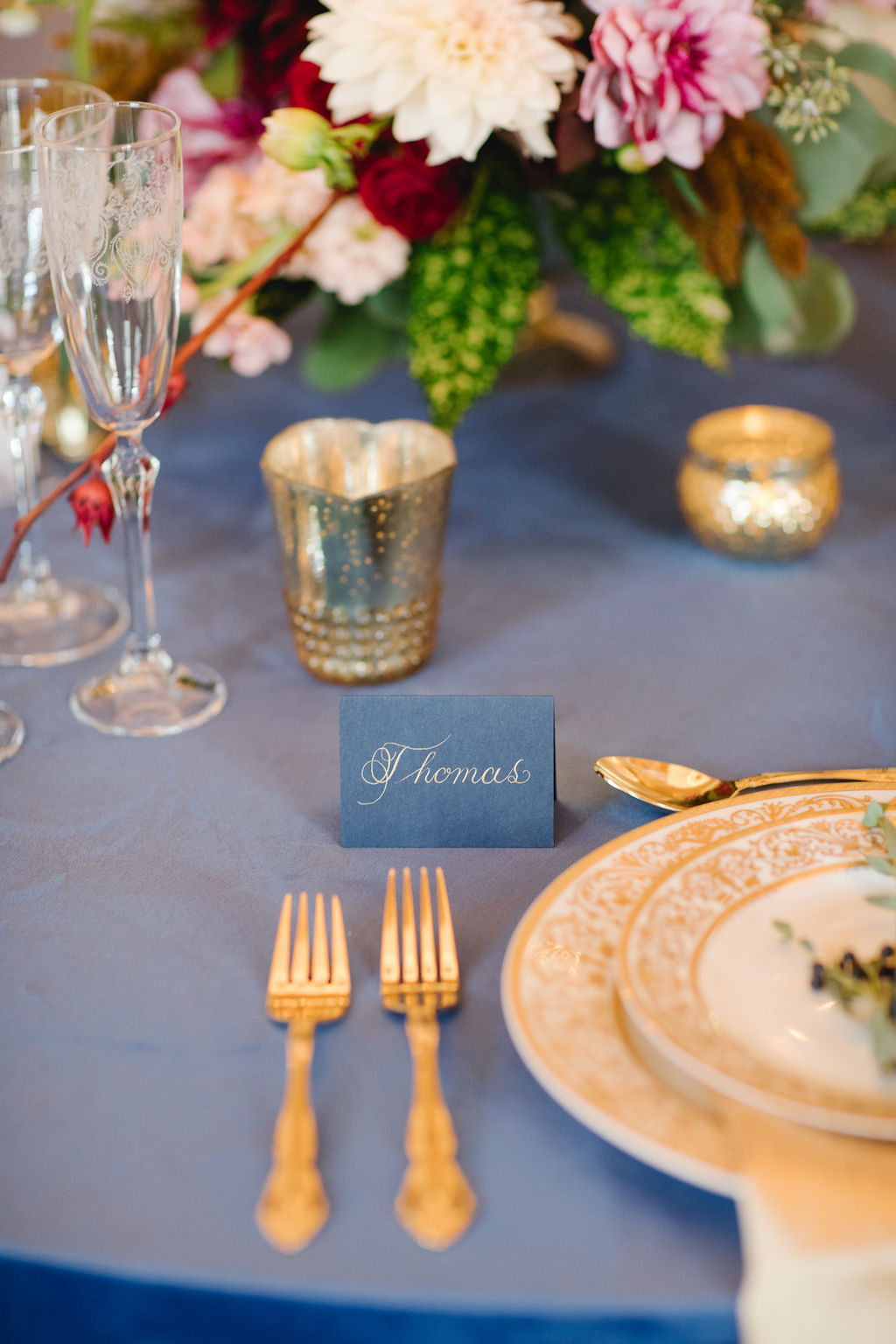 Blue Place-card with Gold Ink