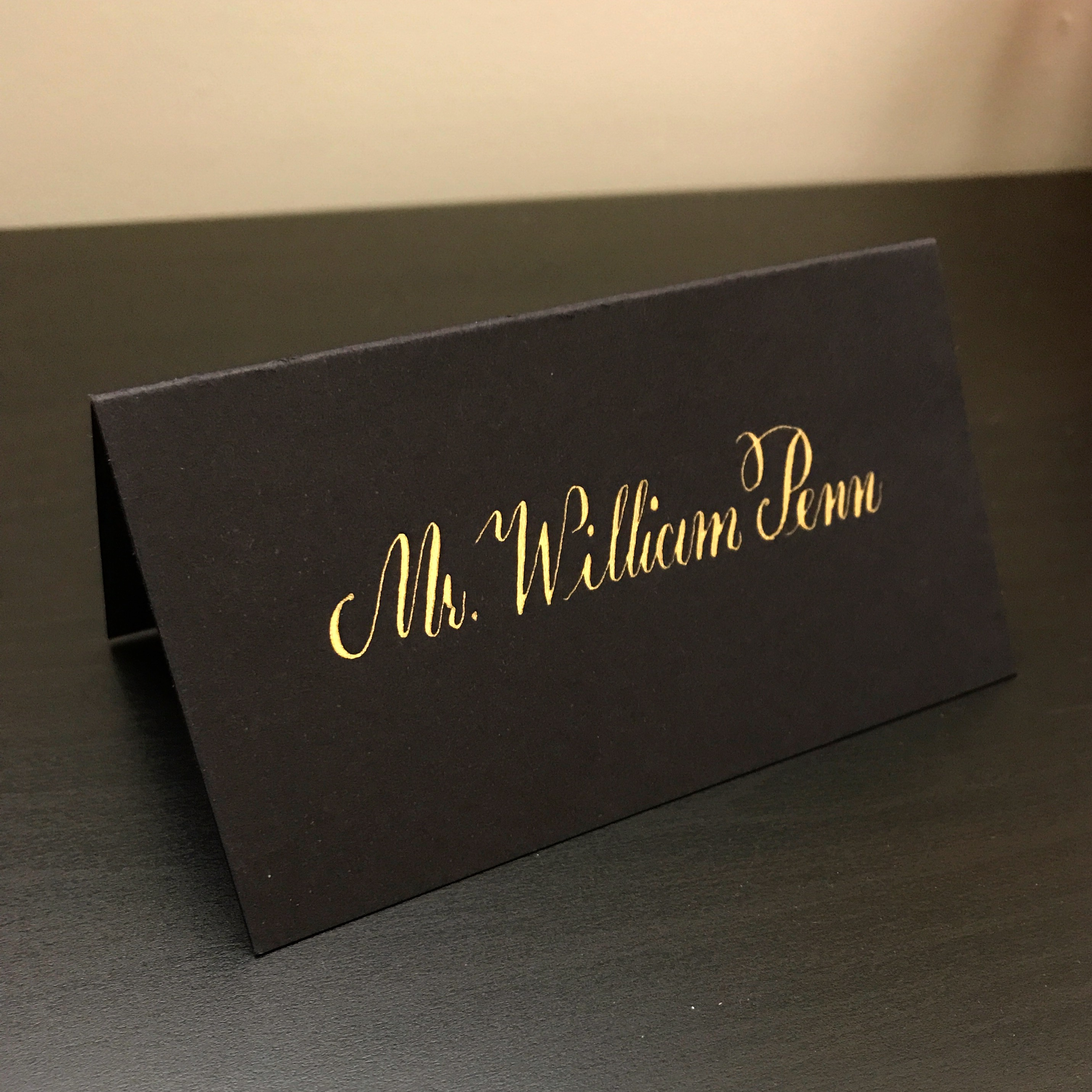Calligraphy Place Card in Gold Ink