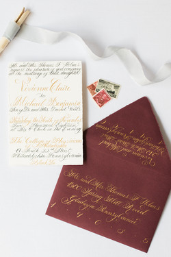 Calligraphy Invitation Suite in Gold