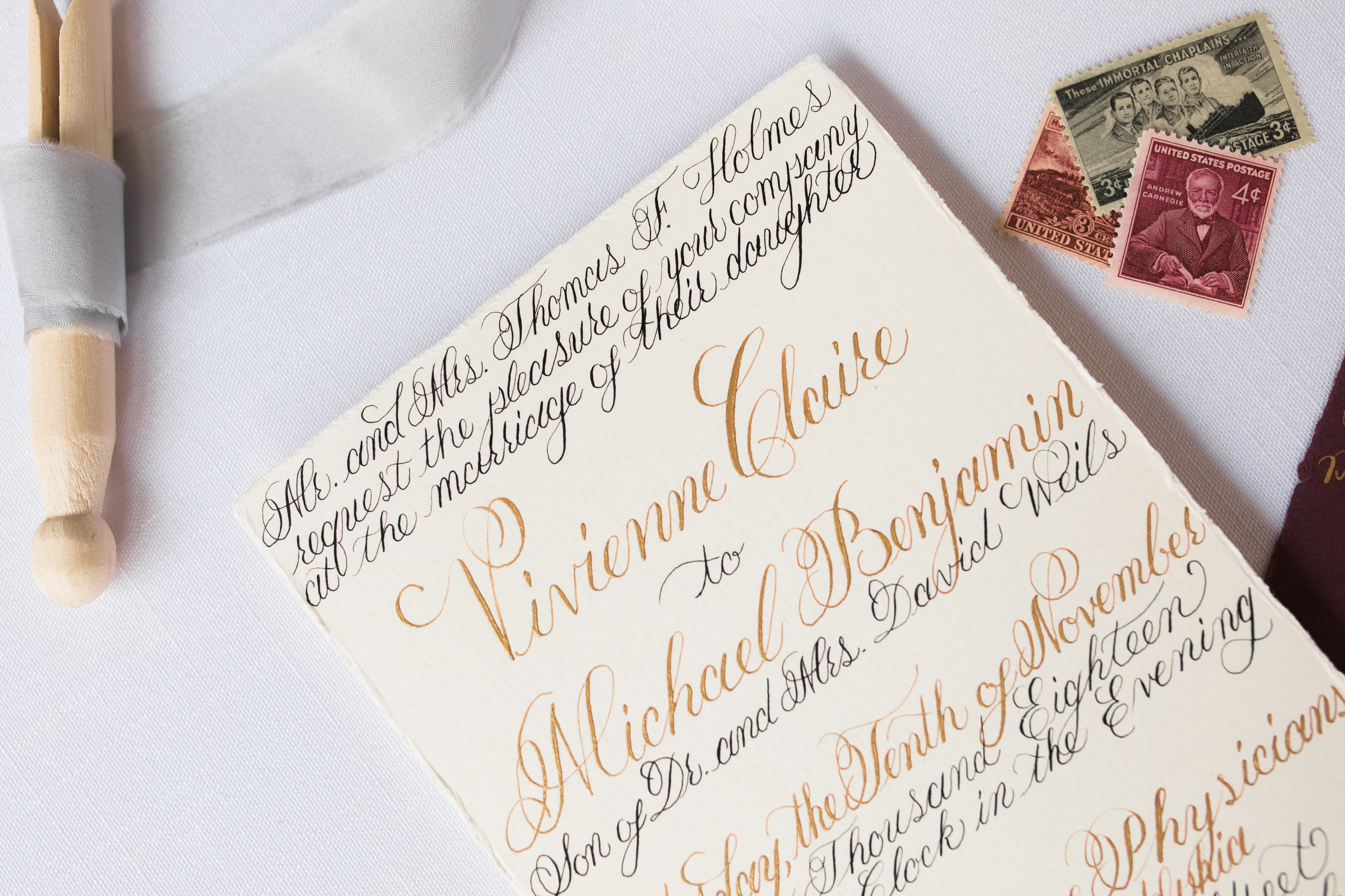 Calligraphy Invitation in Gold