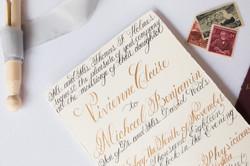 Calligraphy Invitation in Gold