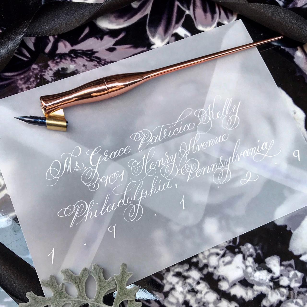 Vellum Envelope Calligraphy in White