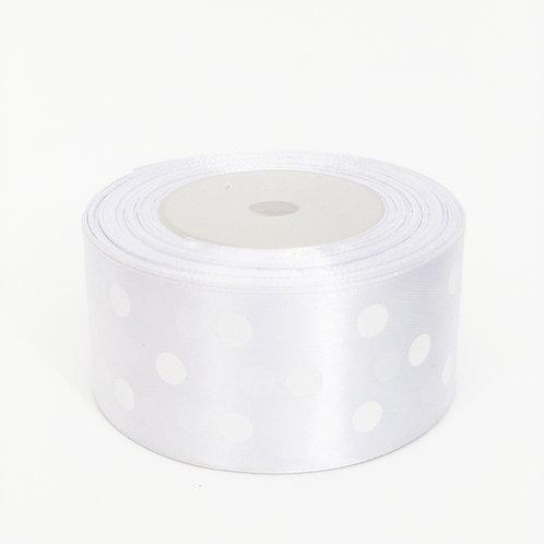 Atłas kropka 40mm biały