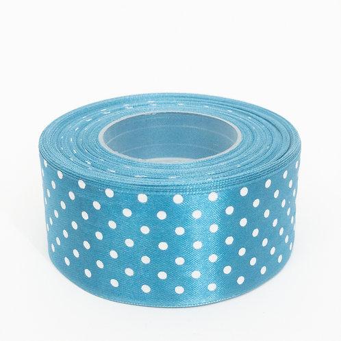 Atłas kropka 40mm niebieski