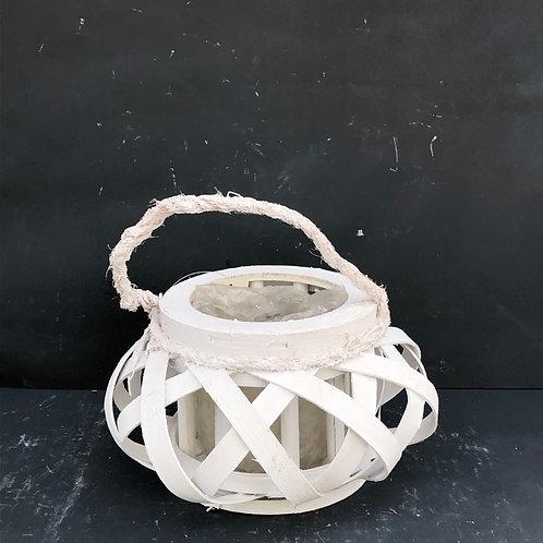 Lampion rattanowy okrągły mały biały