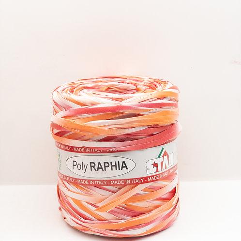 Rafia włoska mix pomarańcz biały