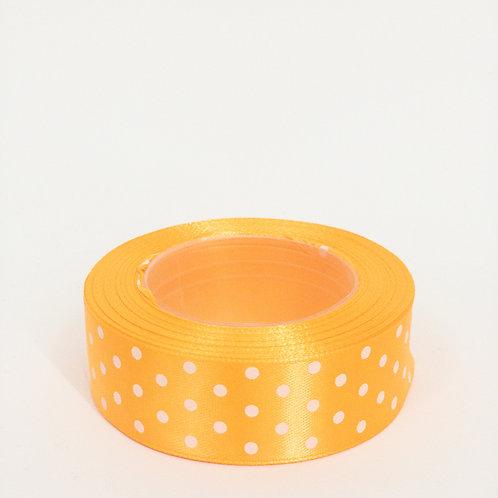 Atłas kropka 25mm jasny pomarańcz