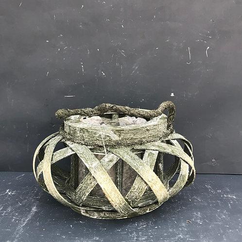 Lampion rattanowy okrągły zielony