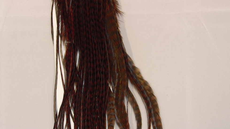 Whiting 1/4 Saddle Grizzly Dyed Coachman Brown Silver Grade