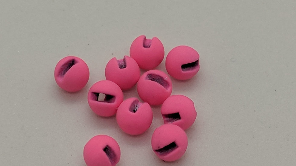 Slotted Tungsten Beads Matte Hot Pink