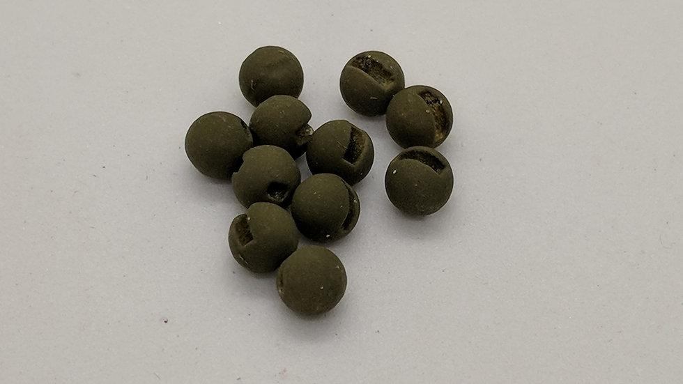 Slotted Tungsten Beads Matte Dark Olive