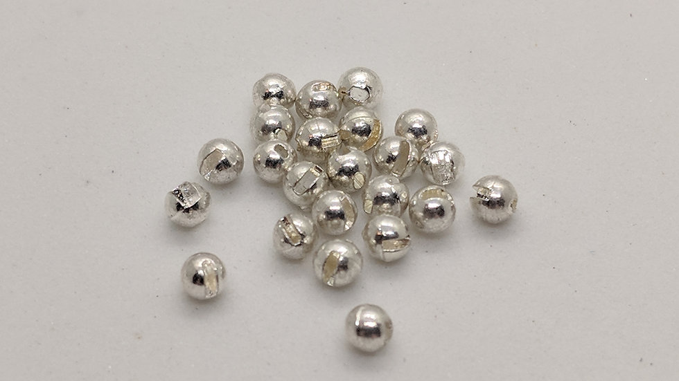 Slotted Tungsten Beads Silver