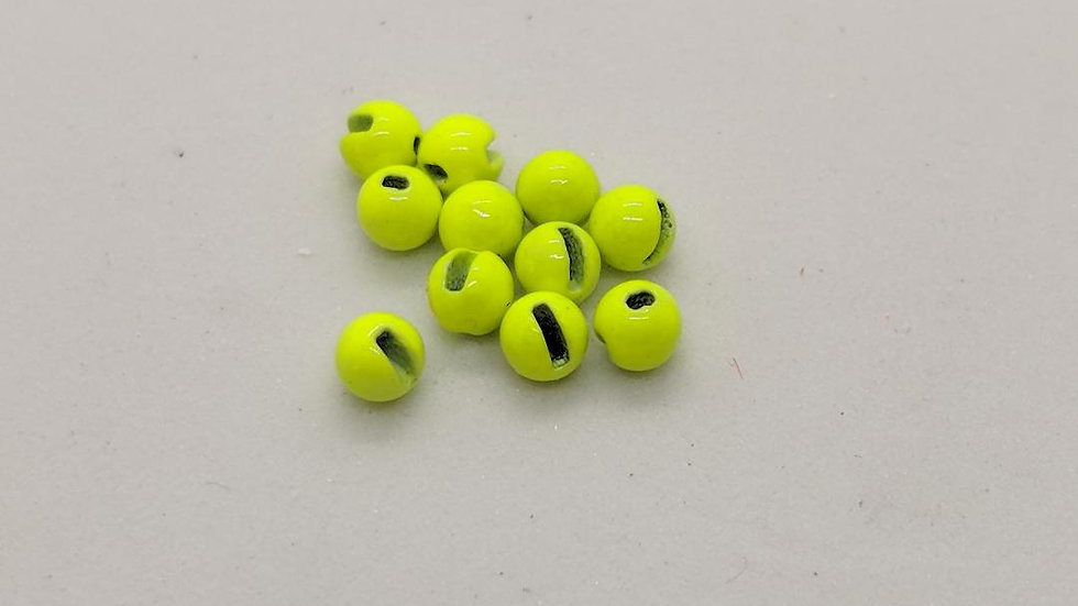 Slotted Tungsten Beads Chartreuse 100pk.