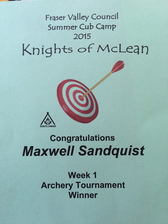 Max wins his first archery tournament at Cub Scout Camp