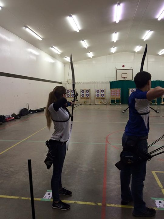 Victoria trying out for the female recurve
