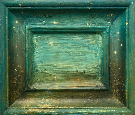 starry night, star gazing, follow the star, three wise men, star filled sky, small painting