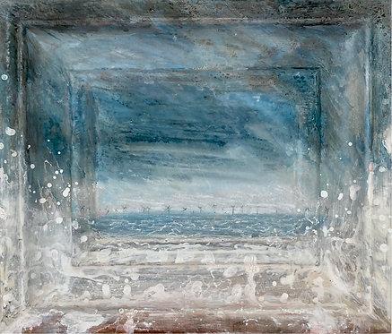 'Windblown, Brighton Beach' framescape painting