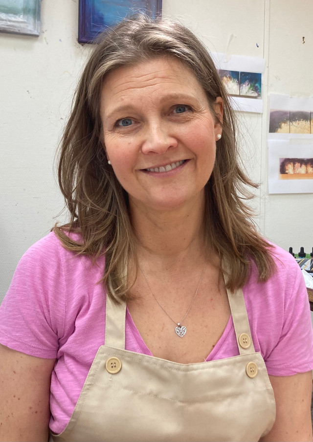 Nichola Campbell artist in her studio Fe