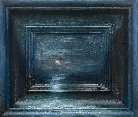 'Blue Moon' framescape painting