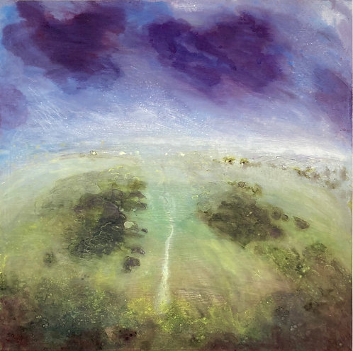 'Wolstonbury Hill with blueberry clouds' wood panel painting
