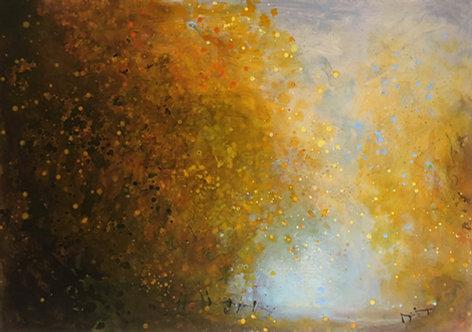 'Golden Walkway' wood panel painting