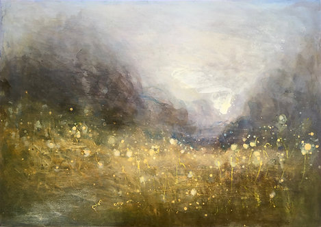 contemporary landscape, sussex meadow, rectangular, living room art, golden, taupe, grey, atmospheric