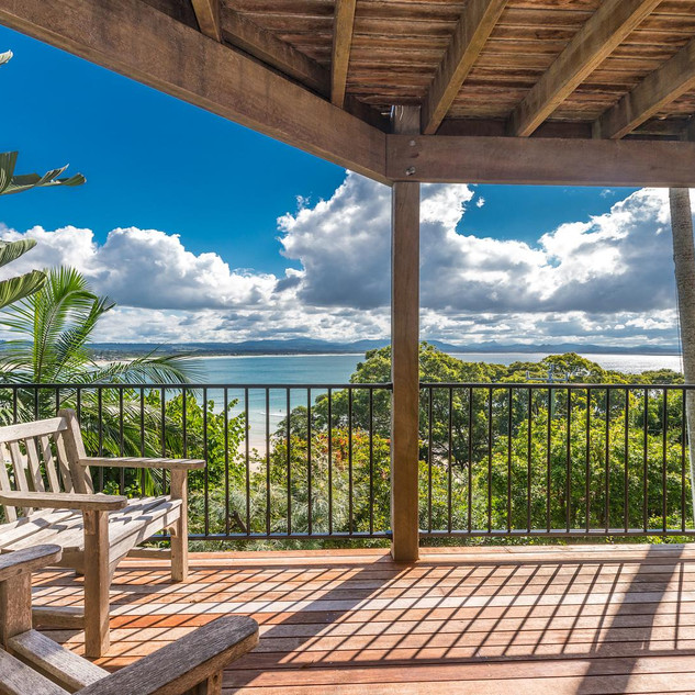 Undercover deck with stunning ocean views