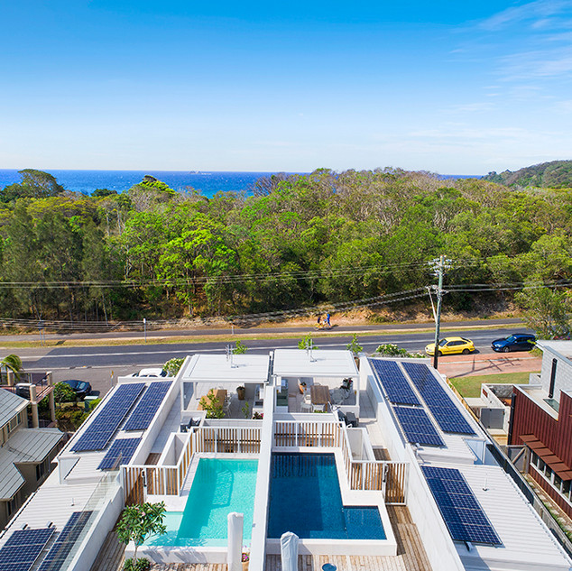 Aerial view of rooftop pool and entertaining area