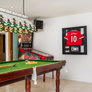 Games room with pool table and pinball machine