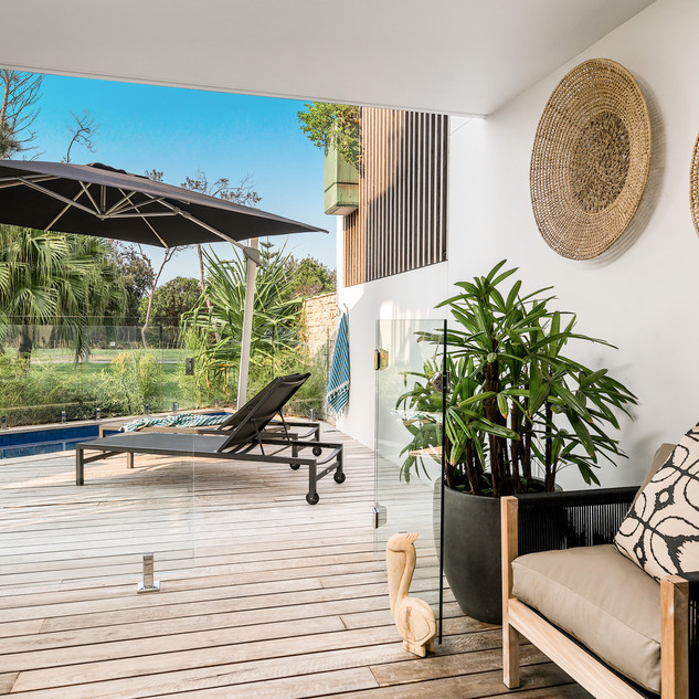 Covered outdoor deck area