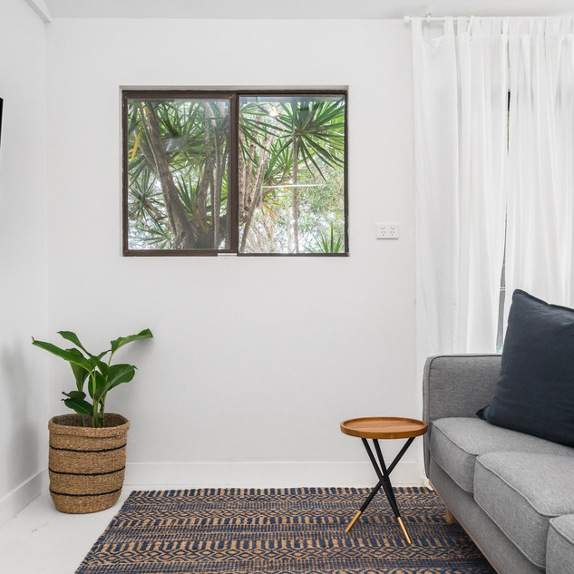 Living room with garden views