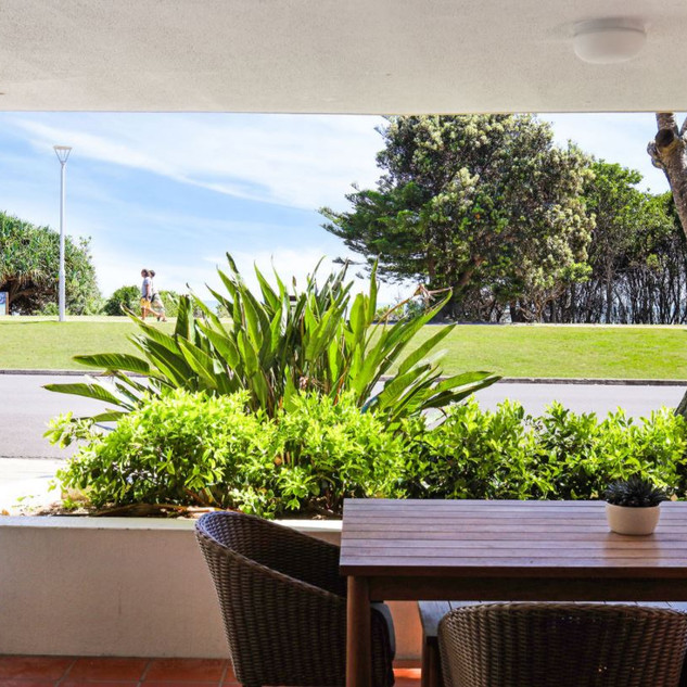 Front patio with views of Clarkes Beach