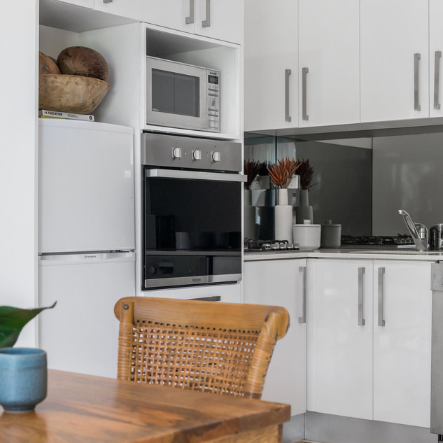 Dining with modern kitchen