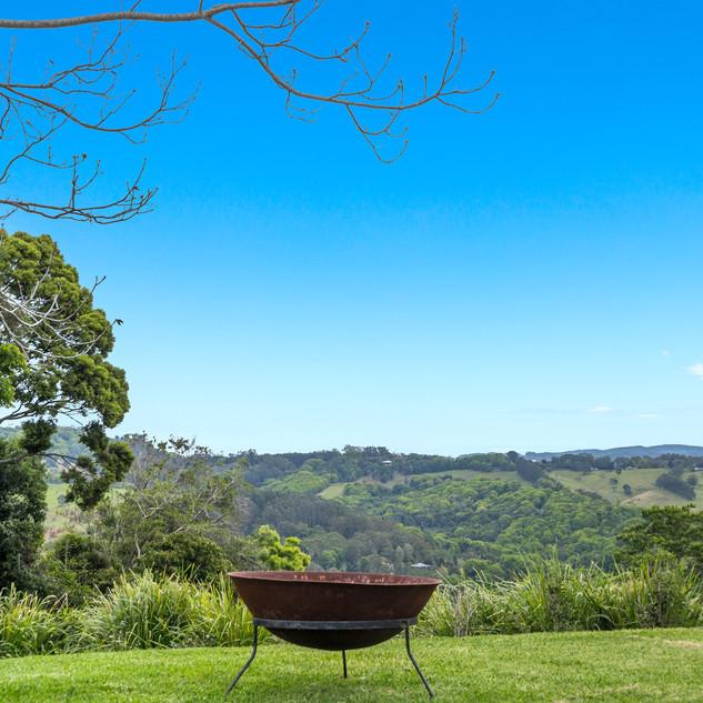 Outdoor firepit overlooking hinterland