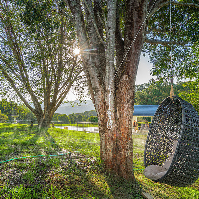 Outdoor hanging chair with views