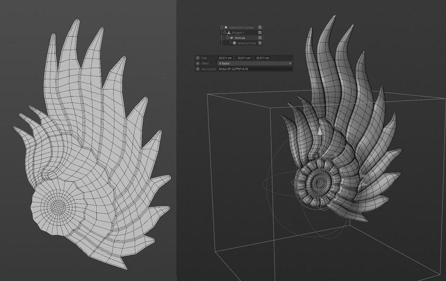 Wing was modelled flat, extruded then deformed using a Formula effector.